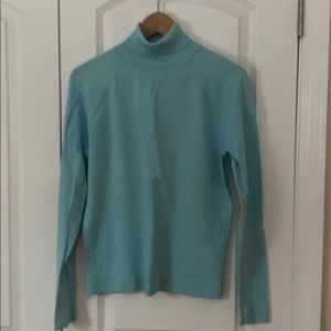 Talbots aqua cotton turtleneck sweater medium